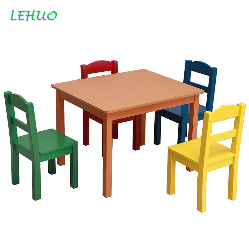 Kids Wood Table & 4 Chairs Set Living room Children Table ...