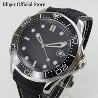 BLIGER Sapphire Crystal 41mm Automatic Men's Watch Sterile Dial With Rubber Strap Date Window