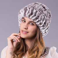 2016 Winter Knitted Hat Real Fur Beanies Headgear For Women With Rabbit Fur Luxury Ball Flower