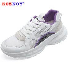 Koznoy Sneakers Women Spring Dropshipping Thick Bottom Fashion Breathable Muffin Lightweight Lace Leisure Shoes