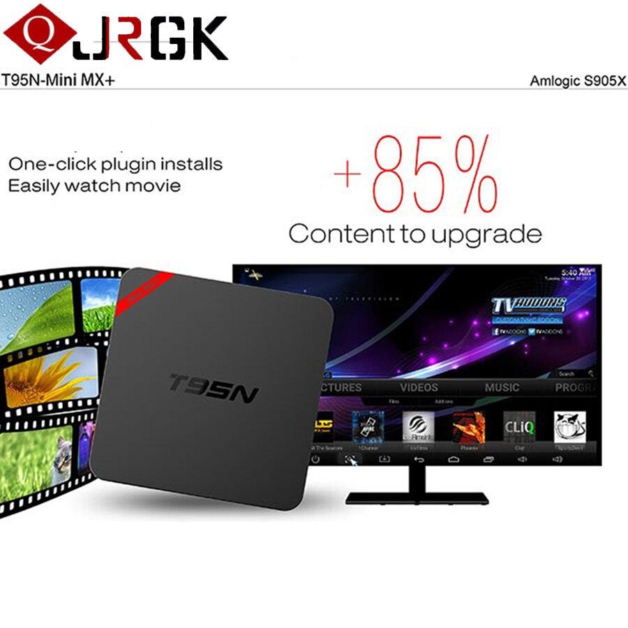 Vente chaude T95N Mini MX + (plus) Android 6.0 TV Box S905X Quad Core 1 GB 8 GB Wifi Smart IPTV boîte 4 K UHD Media Player