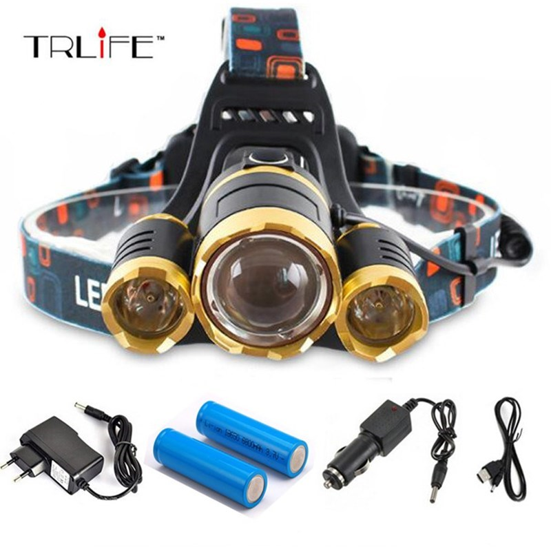High quality 15000 Lumens Headlight LED Headlamp CREE XML 3*T6 Zoom Headlamp Head Lights Lamp+2*18650 Battery+AC/Car/USB Charger