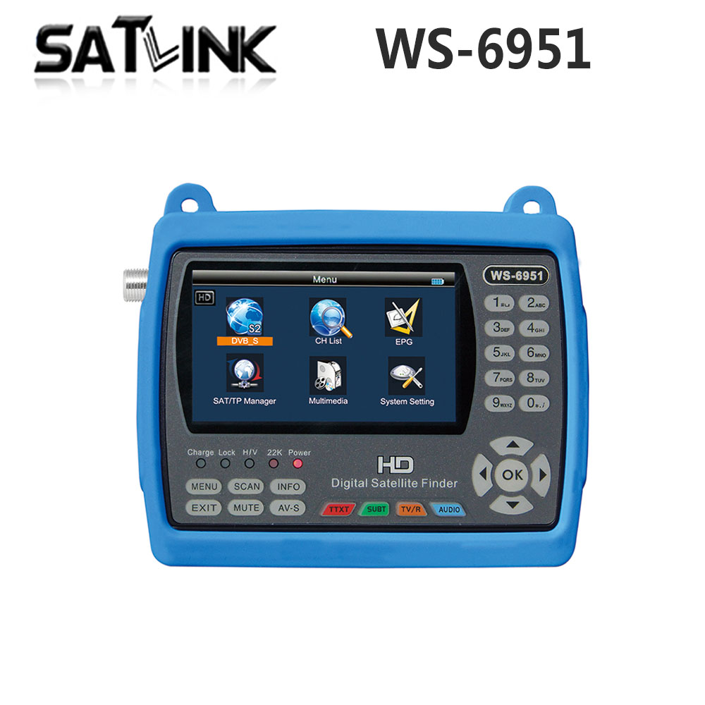 Original Satlink WS-6951 DVB-S/S2 HD Satellite Finder with MPEG-2/MPEG-4 compliant and backlight Satlink 6951 Meter freeshipping 50pcs original satlink ws 6916 dvb s2 mpeg 2 mpeg 4 ws 6916 satellite finder high definition satellite meter tft lcd screen
