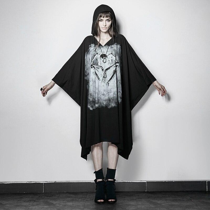 PUNK D'été Noir Os Esprit Film Impression Lâche Manches Chauve-Souris T-shirt Dos Nu Avec Cap pour les Femmes