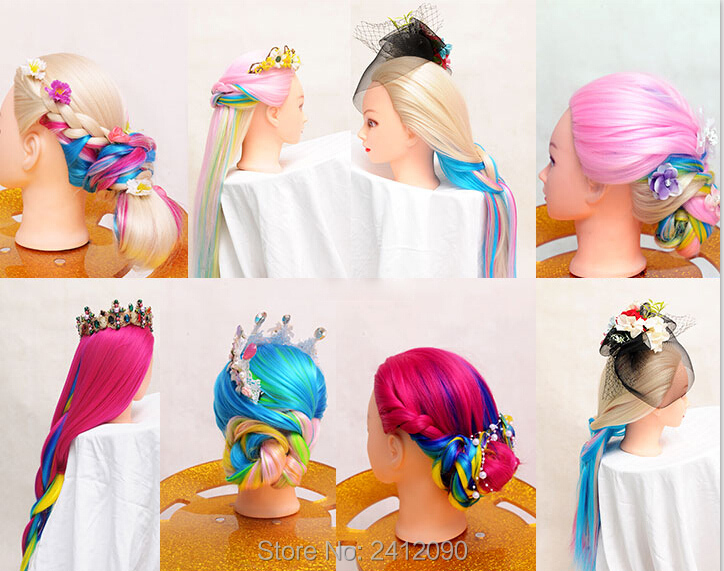 Tête de Mannequin de coiffeur coloré 22 ''Yaki Mannequins de cheveux femmes Mannequin poupée factice tête de perruque tête de style professionnel + pince - 6