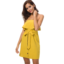0113c102ec2f TIGENA Women Summer Dresses and Sundresses 2018 Kawaii Off Shoulder  Strapless Tunic Dress Shirt With Sashes