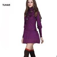 Tuhao تطور محبوك الشتاء اللباس النساء يتأهل طويل كم الياقة المدورة الدفء عارضة مطوي فساتين TA6065