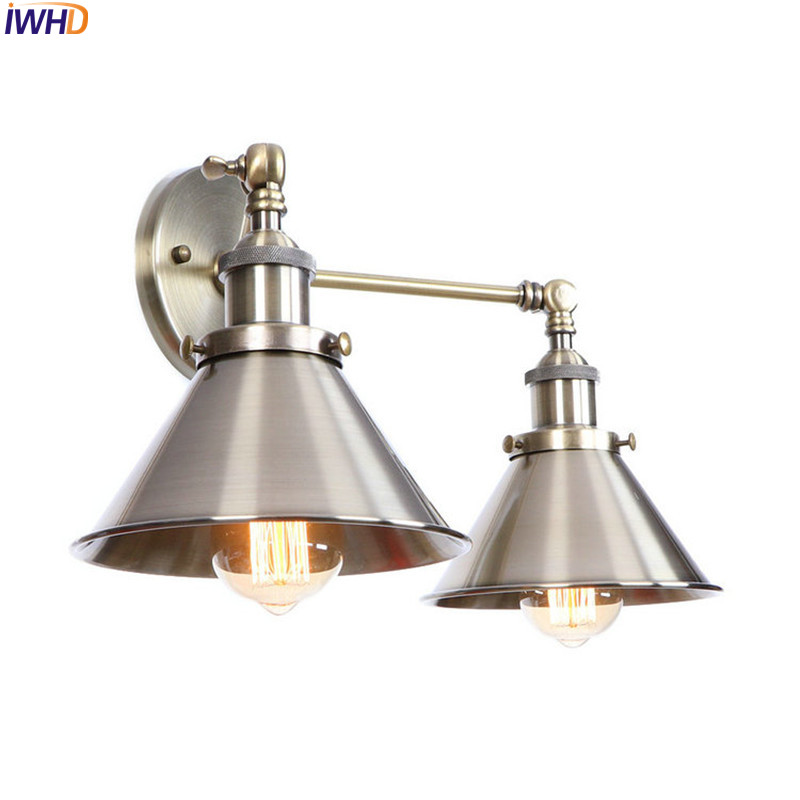 IWHD Loft Style Industrial Wall Lights Fixtures Living Room LED Edison Vintage Wall Lamp Sconce Home Lighting Lamparas De Pared brass glass wall lights led vintage edison american home stair lighting living room adjustable arm industrial wall lamp sconce