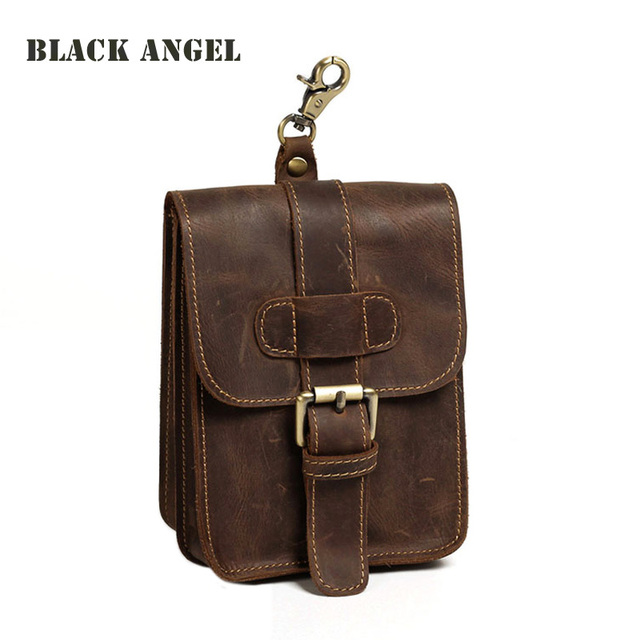 Vintage Genuine Leather Cowhide men casual waist pack bag phone bag small travel fanny belt bag