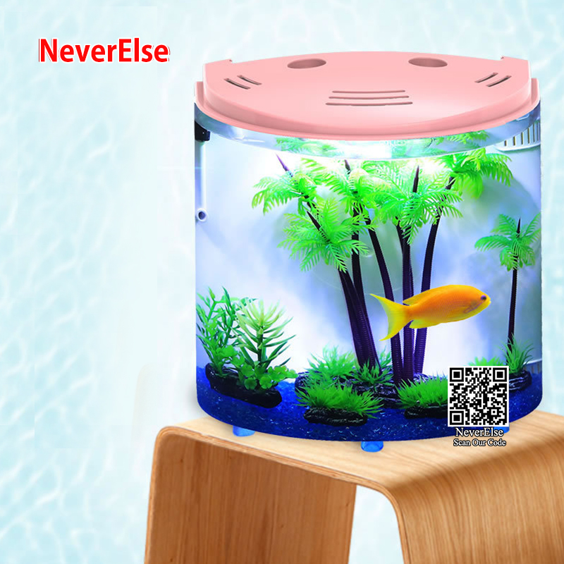 USB Desk Aquarium Small Fish Tank LED Lighting Water Pump Filter Sponge Adjustable Air Oxygen 5L Mini Office Fish Bowl in Aquariums Tanks from Home Garden