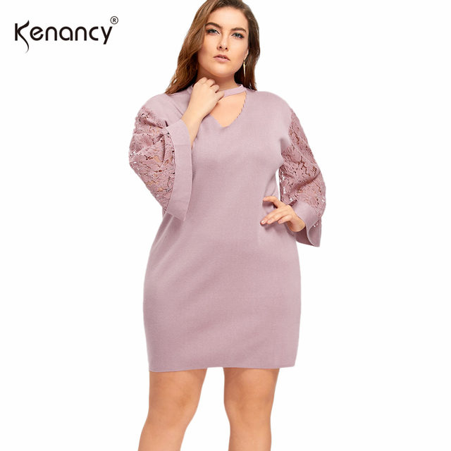 9a711253e85 Kenancy 2017 Fashion 4XL Plus Size 3 Color Hollow Out Lace Trim 3 4 Sleeve  Choker Sweater Dress Women Mock Neck Mini Vestidos