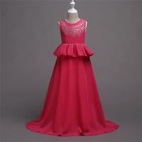 Girls Dresses Summer 2018 Chiffon Hot Drilling Ruffles Teenage Girls Dress for Wedding Party Clothes Junior Prom Costume Vestido