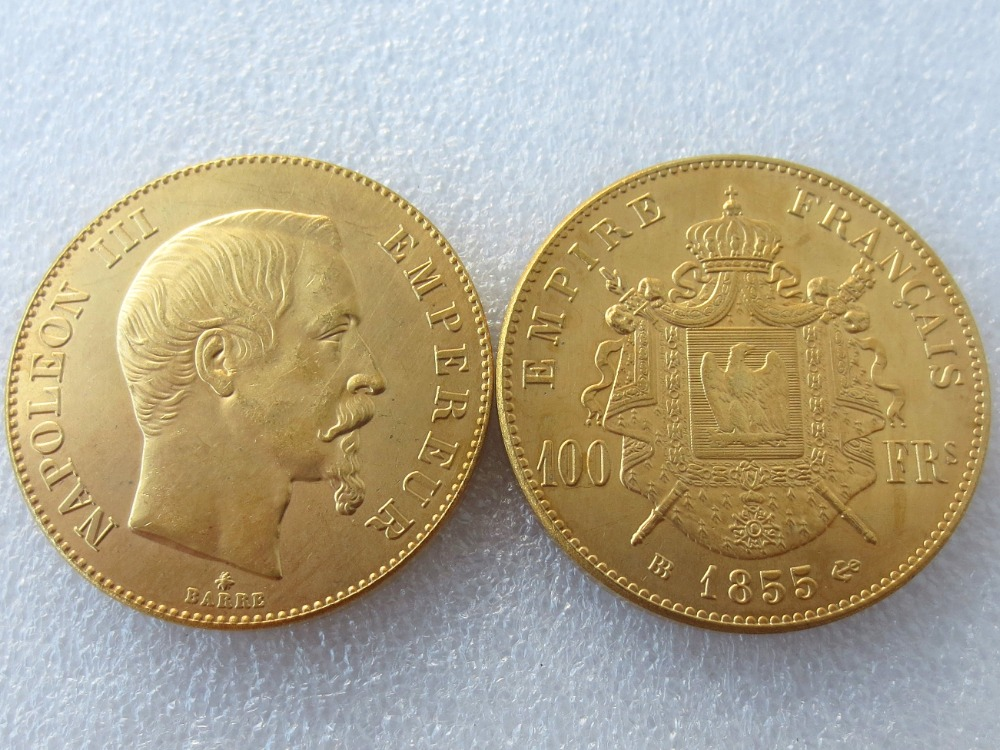 France BB 1855 100 Francs - Napoleon III Gold Plated Coins Copy