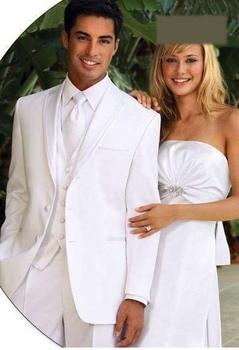 hot New Design White Shawl Lapel Groom Tuxedos Groomsmen Suit Men Wedding Suits Bridegroom Suit (Jacket+Pants+Vest+Tie)