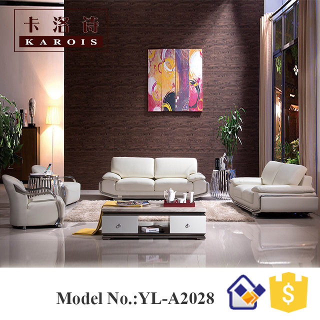 White Modern New Design Sofa Section Furniture Leather With Stainless Steel  Armrest For Big House