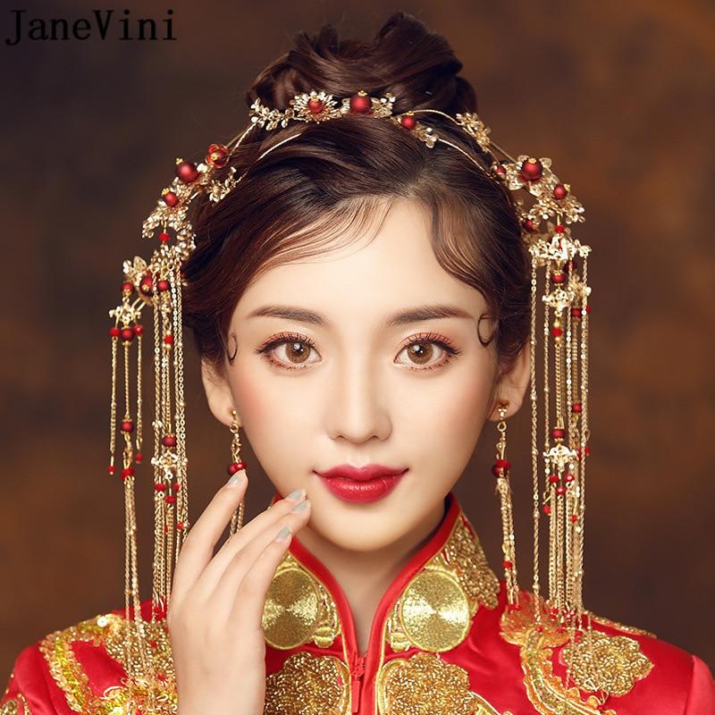 Elegant Ancient Chinese Red Beading Bridal Headdress Golden Tassel Hairpins Wedding Ornaments Hair Jewelry