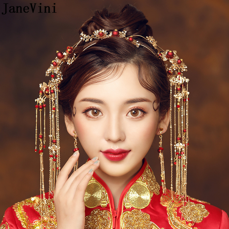 JaneVini Elegant Ancient Chinese Red Beading Bridal Headdress Golden Tassel Hairpins Wedding Ornaments Hair Jewelry Accessories