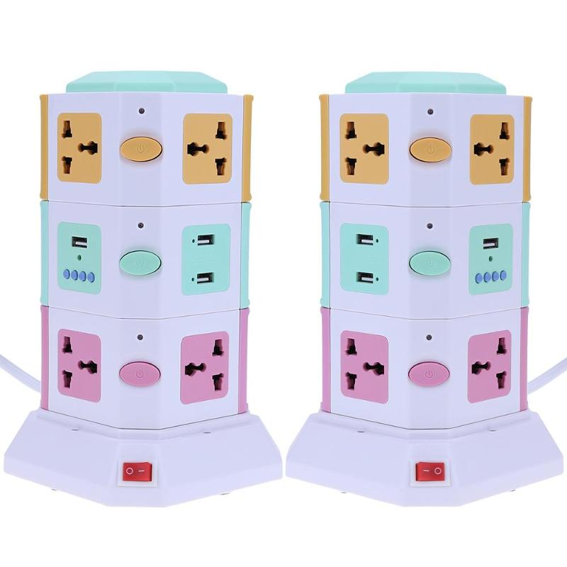 цена на 3 Layer Smart Electrical Plug UK EU Vertical Power Socket Outlet+2 USB Ports Tower Surge Protector Power Strip Power Sockets hot