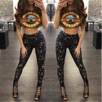 YSMARKET Hot American Rock Guns N Roses Top Black Short Sleeve Jumpsuit Women 2 Piece Set