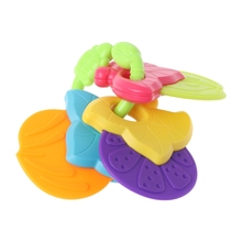 Baby Teether Fruit Shape Silicone Safe Teething Chew Toys BPA Free Infants Pacif
