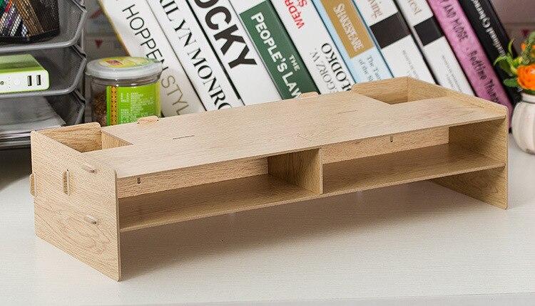 Настольный монитор стенд, деревянный монитор стояка ТВ стенд, для домашнего офиса и места для хранения клавиатуры и Мышь