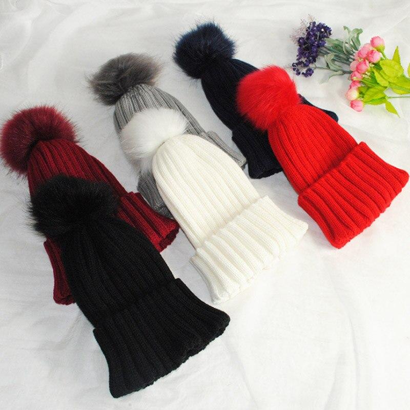 Fashion Women Faux Fur Ball Cap Pom Poms Winter Beanie Hat Knitted Warm Caps H9  fashion women lady faux fur ball crochet knitted hat winter warm beanie chic cap