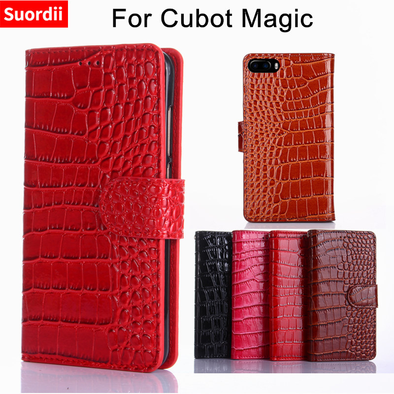For Cubot Magic Case 5.0'' Crocodile Pattern Leather Wallet Silicone Flip Cover Case for Cubot Magic 4G MT6737 Smartphone Coque