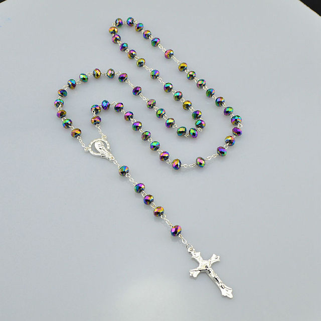 Catholic religious women silver plated christian virgin mary rosary catholic religious women silver plated christian virgin mary rosary necklace jewelry polychrome crystal prayer beads aloadofball Gallery