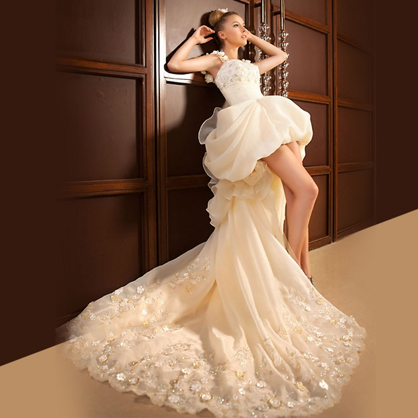 Low Cut Wedding Gowns: Crystal Lace High Low Wedding Dresses Short Front Long
