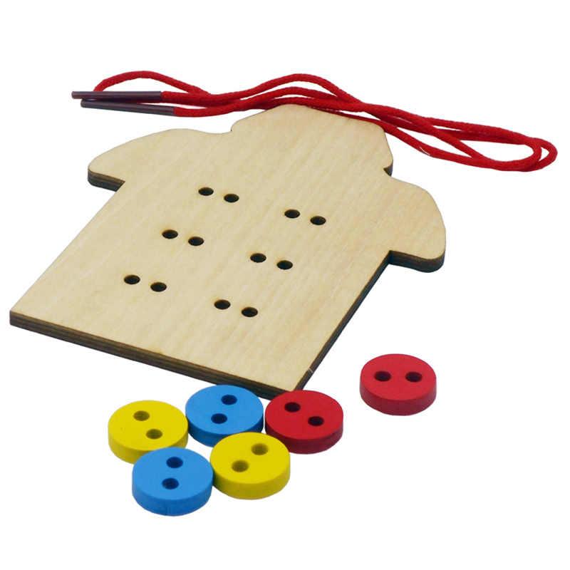 Детские развивающие игрушки Монтессори дети шнуровка бусы лоток шить в образования детей пуговицы Детские деревянные игрушки преподавания