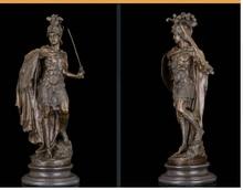 Медь Латунь КИТАЙСКИЙ ремесла украшения Азиатского Искусства Деко Скульптура Древнего Римского Воина Держать Меч и Щит Бронзовая Статуя