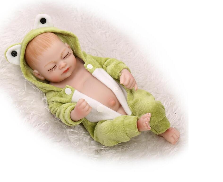 mini reborn silicone baby dolls lifelike soft silicone vinyl real gentle touch newborn baby cheaper price solid doll toy