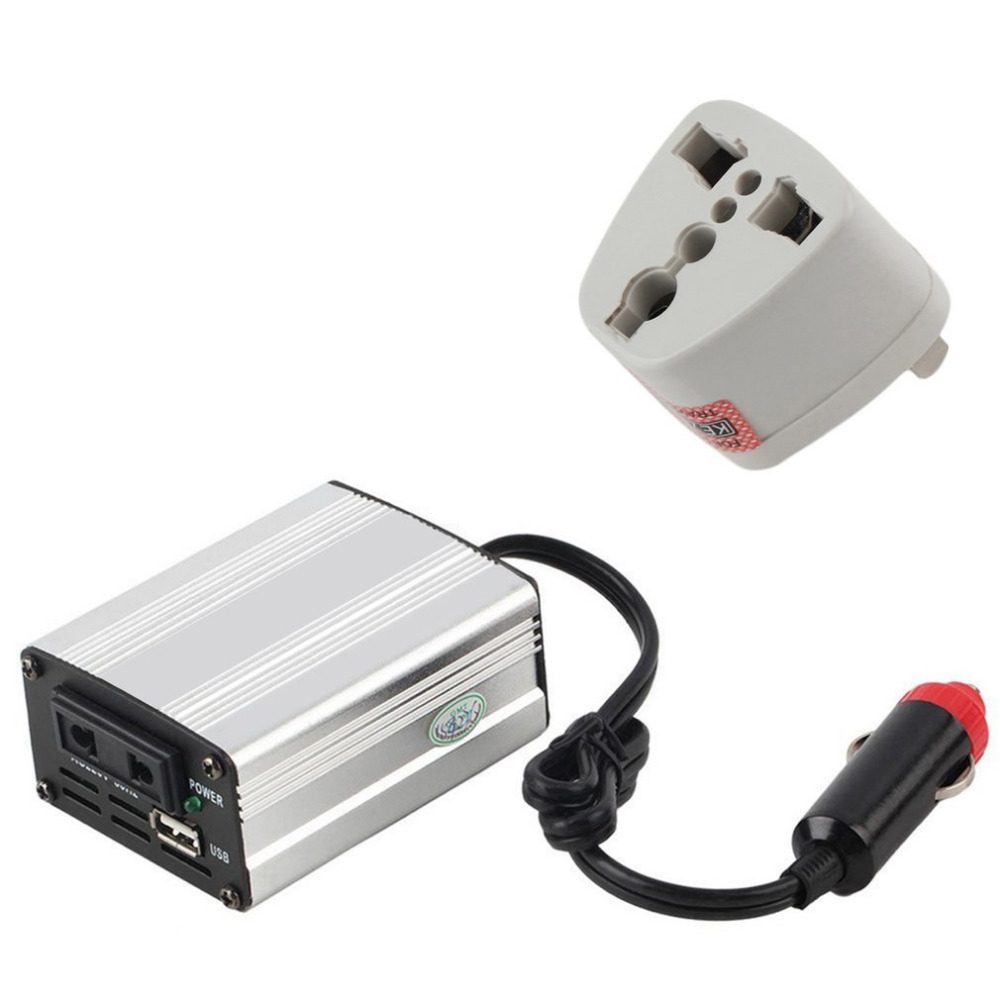 Silver Power Inverter Adapter Car Converter 12V to 110V/220V Input Car Power Converter Vehicle Power Supply Charger UK Plug