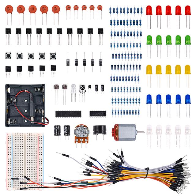 Universal electrónico de Piezas Kit Breadboard Cable LED Potenciómetro Resistencia Capacitancia para el Kit Arduino uno