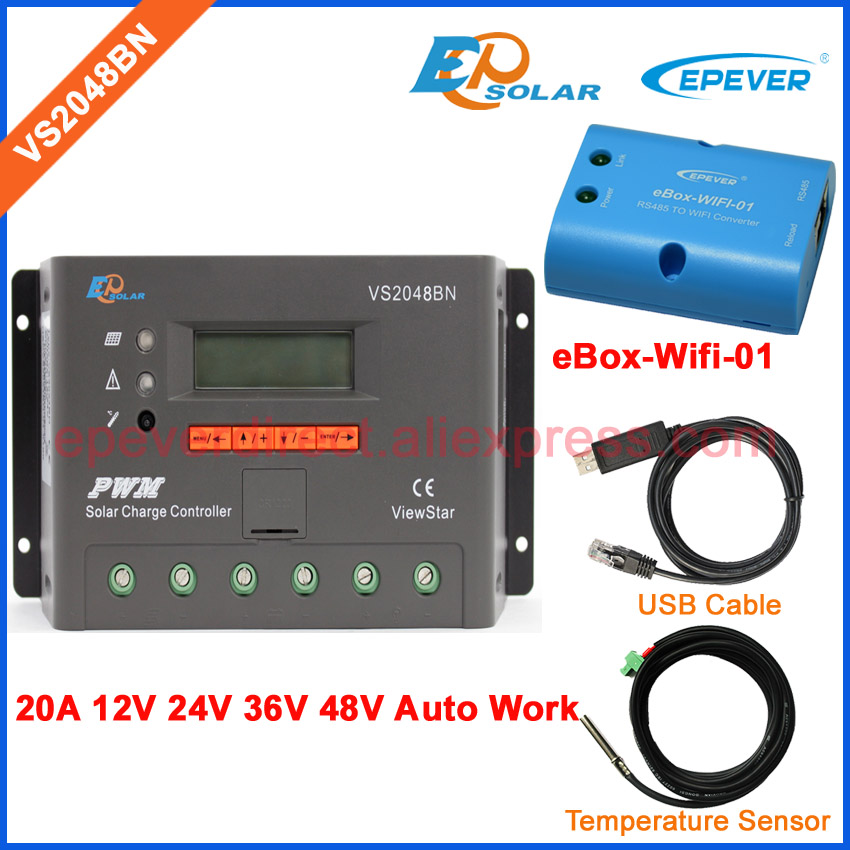 wifi and USB cable Temp sensor PWM VS2048BN 12V 24V 36V 48V solar panels system work solar controller 20A regulator EPEVER ble box vs2048bn 20a 24v 48v work usb cable solar pwm 20amp charger controller epever communication cable connect pc
