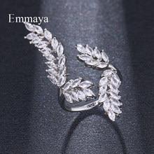 Emmaya-anillo ajustable de circonia cúbica con forma de hoja brillante para mujer, sortija de cristal de Color dorado, joyería para fiesta