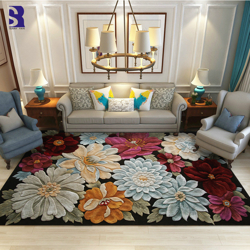 SunnyRain 1 piece 3D Flowers Carpets and Area Rug for Living Room Rugs For Bedroom Short