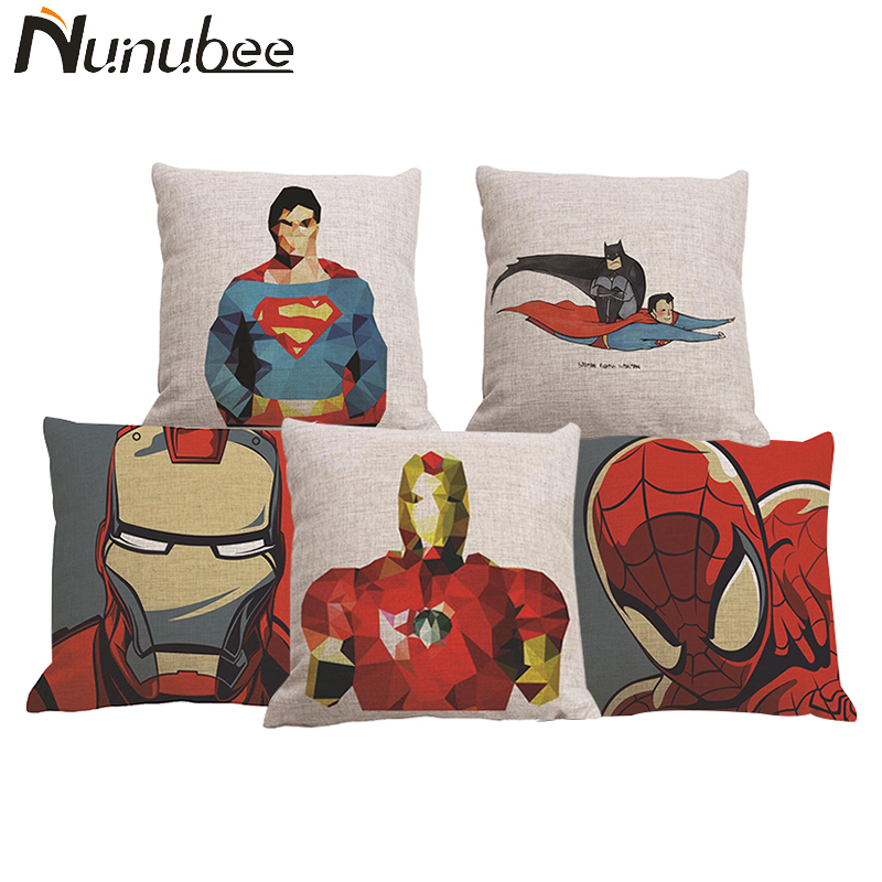 Nunubee Super Hero Cushion Cover Superman Batman Iron Man Captain America Spider Man Cushion Covers Linen Pillow Case 45*45CM