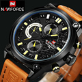 NAVIFORCE Luxury Brand Leather Analog Men Quartz Clock Fashion Casual Sports Watches Men Military Wrist Watch relogio masculino