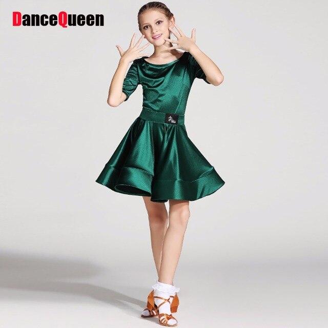 New Arrival Latin Dance Dress For Girl Blue Green Red Short Sleeve ...