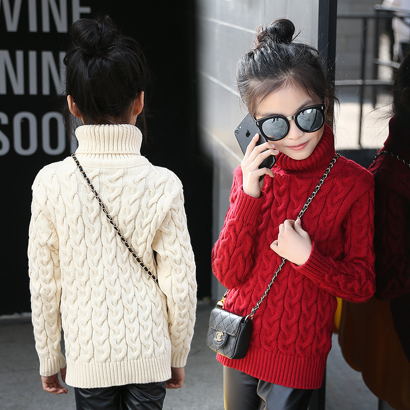 high neck red white long sweater girls sweaters children thick warm winter sweater turtleneck girl pullover sweter underclothes women s sweater pullover 100% genuine goat cashmere women sweaters and pullovers knit round neck long sleeves thick sweaters