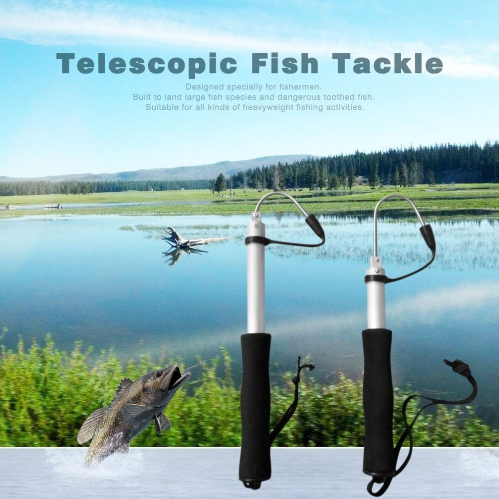 60cm/120cm Stainless Steel Sea Telescopic Fishing Gaff Aluminum Alloy Spear Hook Fish Tackle Outdoor Fishing Tool