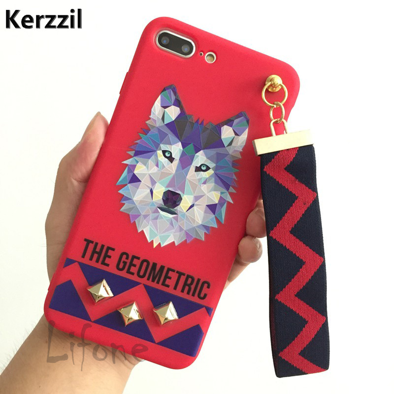 Kerzzil Fashion Cute Geometric Tassel Silicone Case for iPhone 7 6 6s Plus Animal Tiger Wolf Rabbit Cover Case for iPhone 6 6s 7