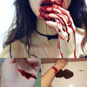 Image 4 - Vampire Fake Blood Teeth Vomiting Edible Pulp Halloween Party Supplies Ultra realistic Simulation Human Hematopoietic Props