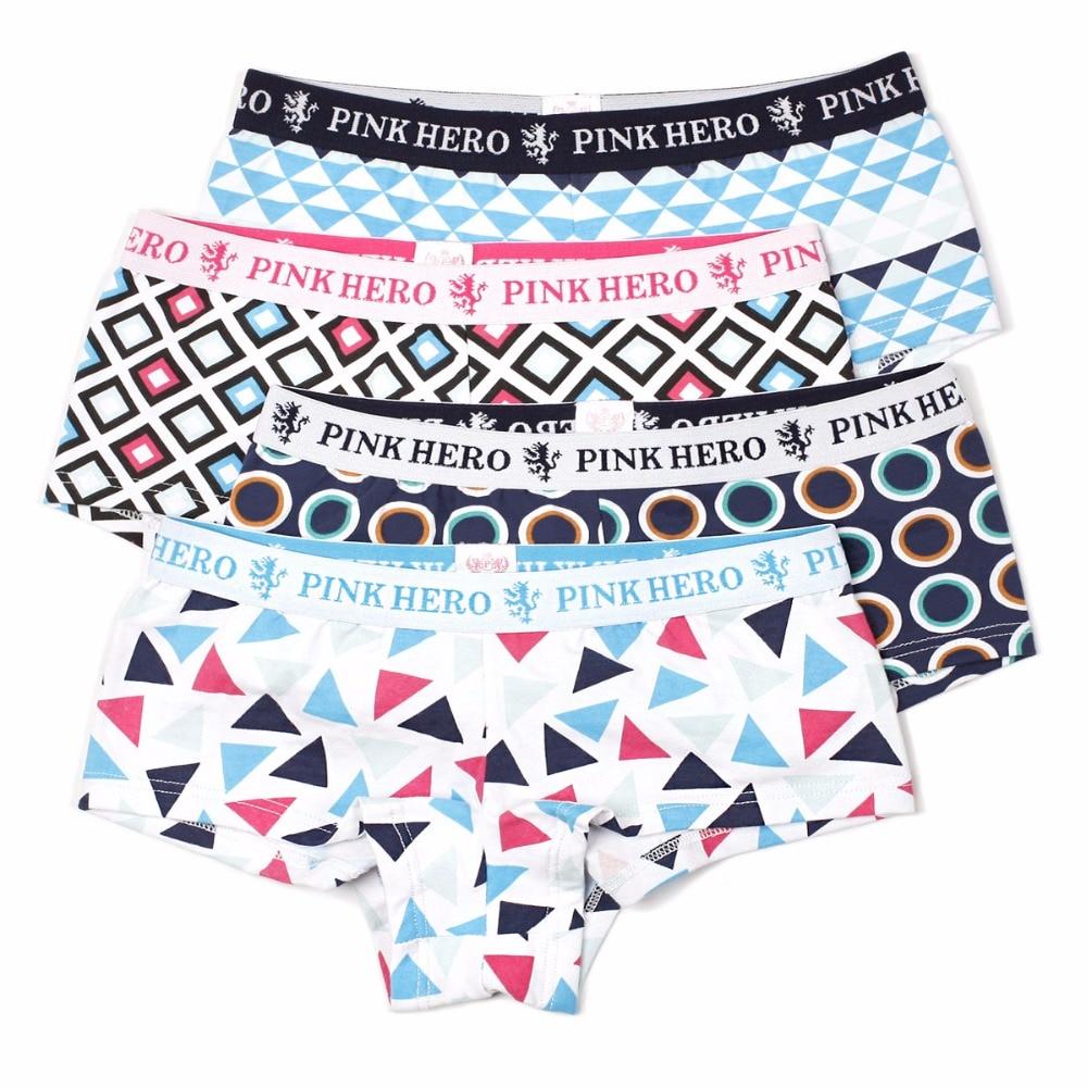 4pcs/lot Underwear Women Panties Cotton Pink Heroes Unipue Fashion Design High-end Cute Ladys Panties S/M/L/XL