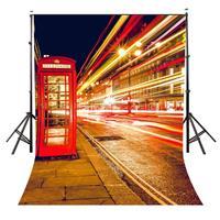 150x220cm 런던 야간 거리보기 사진 배경 빨간색 전화 부스 배경 사진 스튜디오 배경 소품 벽