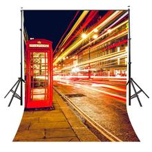 150x220cm London Night Streets View Photo Background Red Phone Booth Backdrop Photography Studio Backdrop Props Wall стоимость