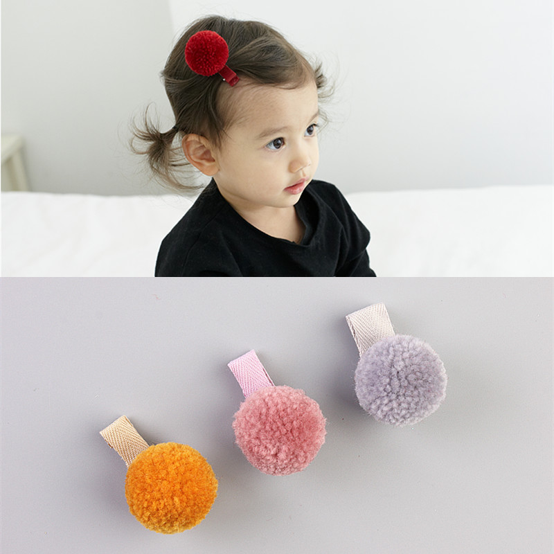 Plush Ball Hair Clip Kawaii Hairpin Flower Kids Barrettes Girl  Fashion Hair Accessories Full Cover Hairpins 7 pairs lot promotion hairpin hairclip headwear girl hair accessories kids hair clip girl christmas gift
