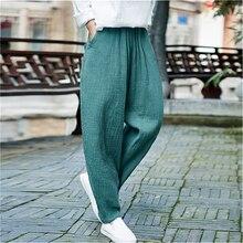 Женские шаровары с карманами, эластичная резинка на талии, Весенние Новые повседневные винтажные брюки, свободные качественные женские хлопковые льняные штаны