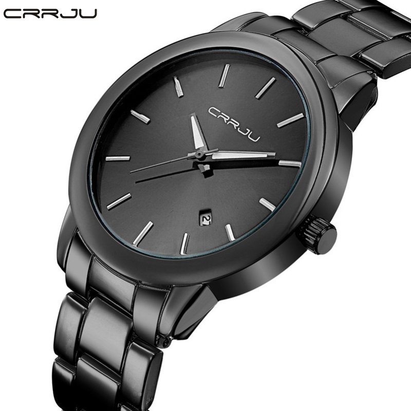 Fashion Black Full Steel Men Casual Quartz Watch Men Clock Male Military Wristwatch Gift Relojes Hombre CRRJU Brand Women watch halloween gift tvg watch fashion casual quartz watch men waterproof leather strap male quartz watch el backlight relojes hombre